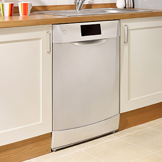 A white dishwasher installed between kitchen cabinets