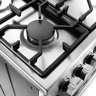 A closeup of a gas stove burner