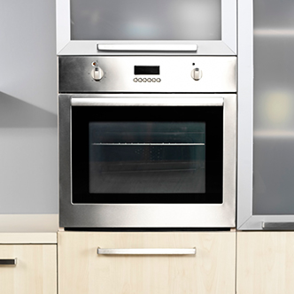 A stainless steel wall oven