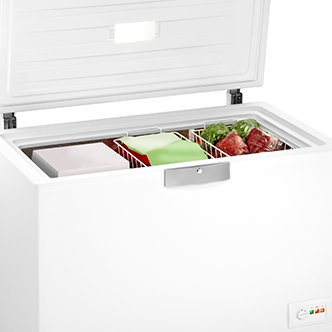 A white chest freezer